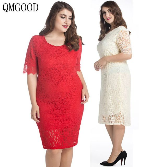 3493f39c617 QMGOOD 10XL 9XL Big Size Ladies Dresses Half Sleeve Solid Lace Dress Plus  Size 8XL 7XL Party Fat MM Women Large Size Clothes