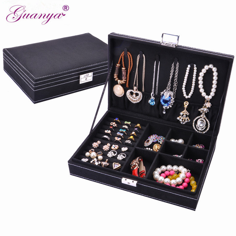 guanya brand Fashion jewelry Accessories box plate stud earring earrings storage case ring wedding birthday gift Free shipping