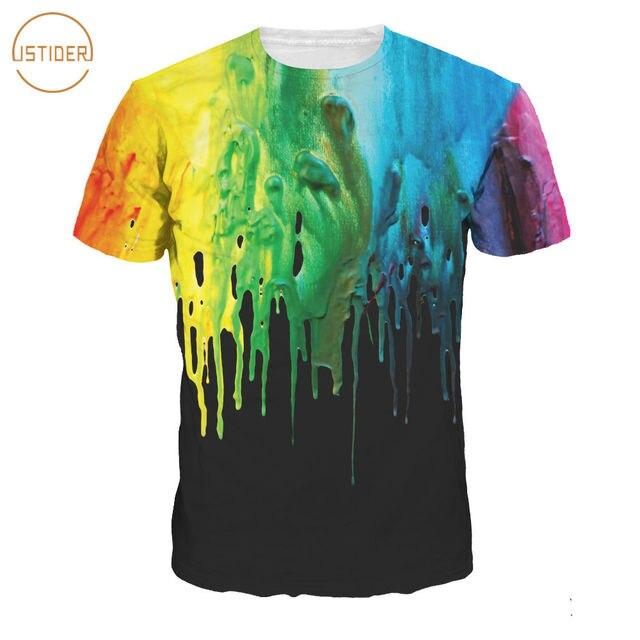 ISTider 2018 Fashion New Women/Men T Shirt Colorful Paint Printing 3D T- Shirt