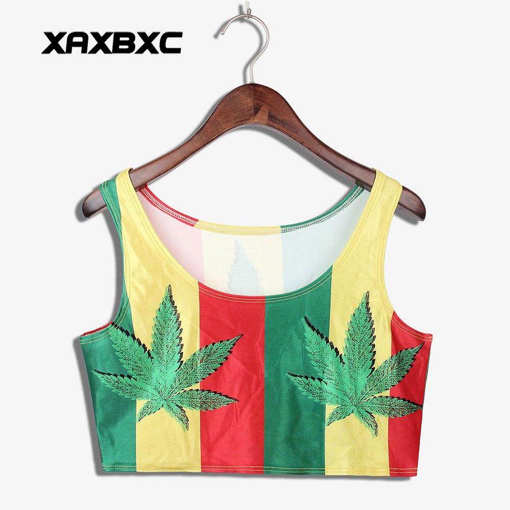 XAXBXC 1002 Summer Sexy Girl Vest Women Crop Top Jamaica Colour Weed Leaf Prints Elastic Slim Sleeveless Fitness Tank Tops