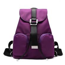 Женщины Высокое Качество Нейлон Путешествия Рюкзак Фиолетовый Плечо Мешки Drawstring Школы Собирают Back Bags
