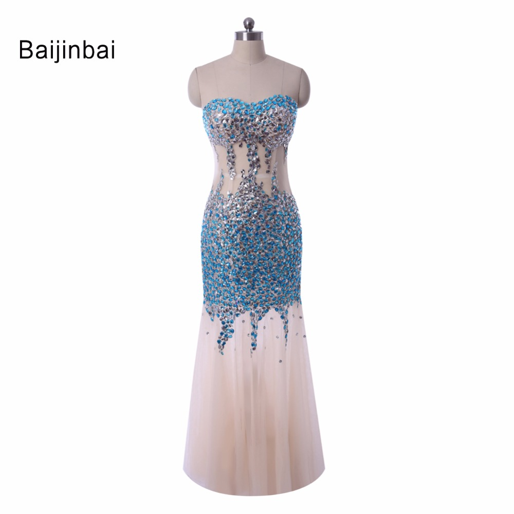 Custom Made Luxury Gorgeous Mermaid Rhinestone Crystal See Through Long Evening Dress Vestidos 2016 Formal Party
