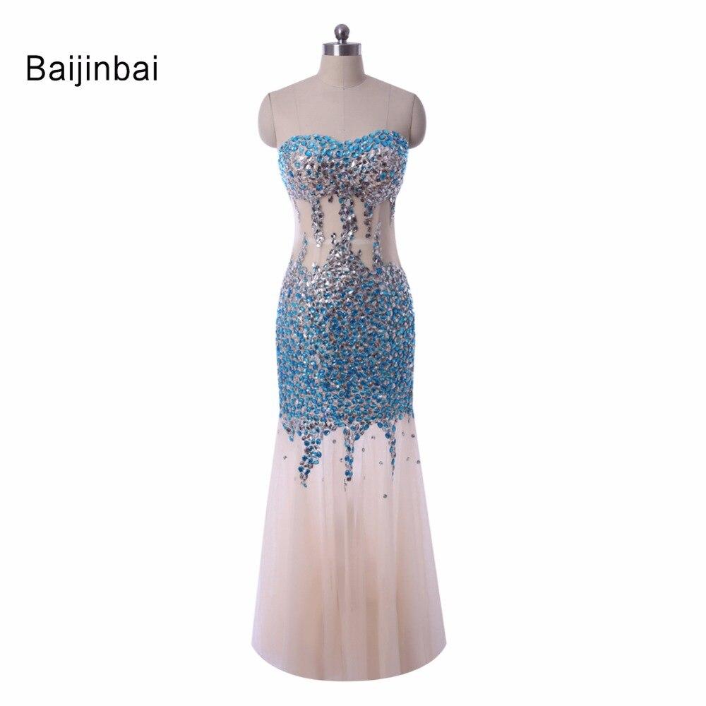 Custom Made Luxury Gorgeous Mermaid Rhinestone Crystal See Through Long Evening Dress Vestidos 2016 Formal Party