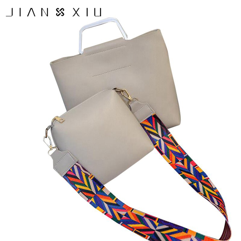 JIANXIU Women Bohemia Top-handle Bags 2 PC Set with Shoulder Strap Handbag PU Leather Girls Shoulder Crossbody Bag Casual Bag