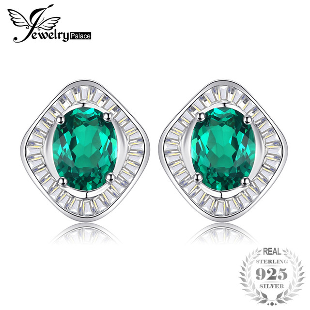 Jewelrypalace 3ct Simulated Emerald Luxury Studs Earring 100 Real 925 Sterling Silver Jewelry For Women