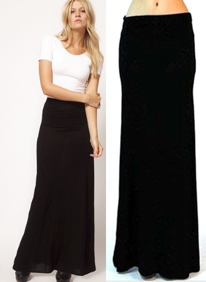 1f3bee294df Girls Black Fold Over Waist Banded Minimalist Jersey Knit Long Maxi Skirt M  L XL-in Skirts from Women's Clothing on Aliexpress.com | Alibaba Group