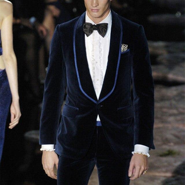 Navy Blue Velvet Men Suit For Party Celebrity Red Carpet 2017 Formal Tailored Shawl Lapel Wedding