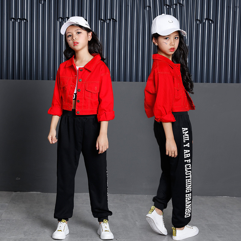Three-piece Suit Hip Hop Clothing Kids Red Coat Long Sleeve T-Shirt Clothes Boys Girls Jazz Street Dance Costumes Clothes