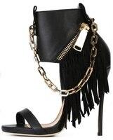 В стиле панк кожаные сандалии черного золота цепи молния Декор вырез Сандалии в гладиаторском стиле; ботинки для женщин пикантные тонкий ка...
