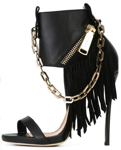 Punk Style Leather Sandals Black Gold Chain Zipper Decor Cut-out Gladiator Sandal Boots For Woman Sexy Thin Heel Dress Shoes