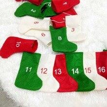 Нетканые рождественские чулки, Адвент-календари, 24 дня, обратный отсчет, Адвент-календарь, гирлянда, чулки для праздника, вечеринки, Рождества