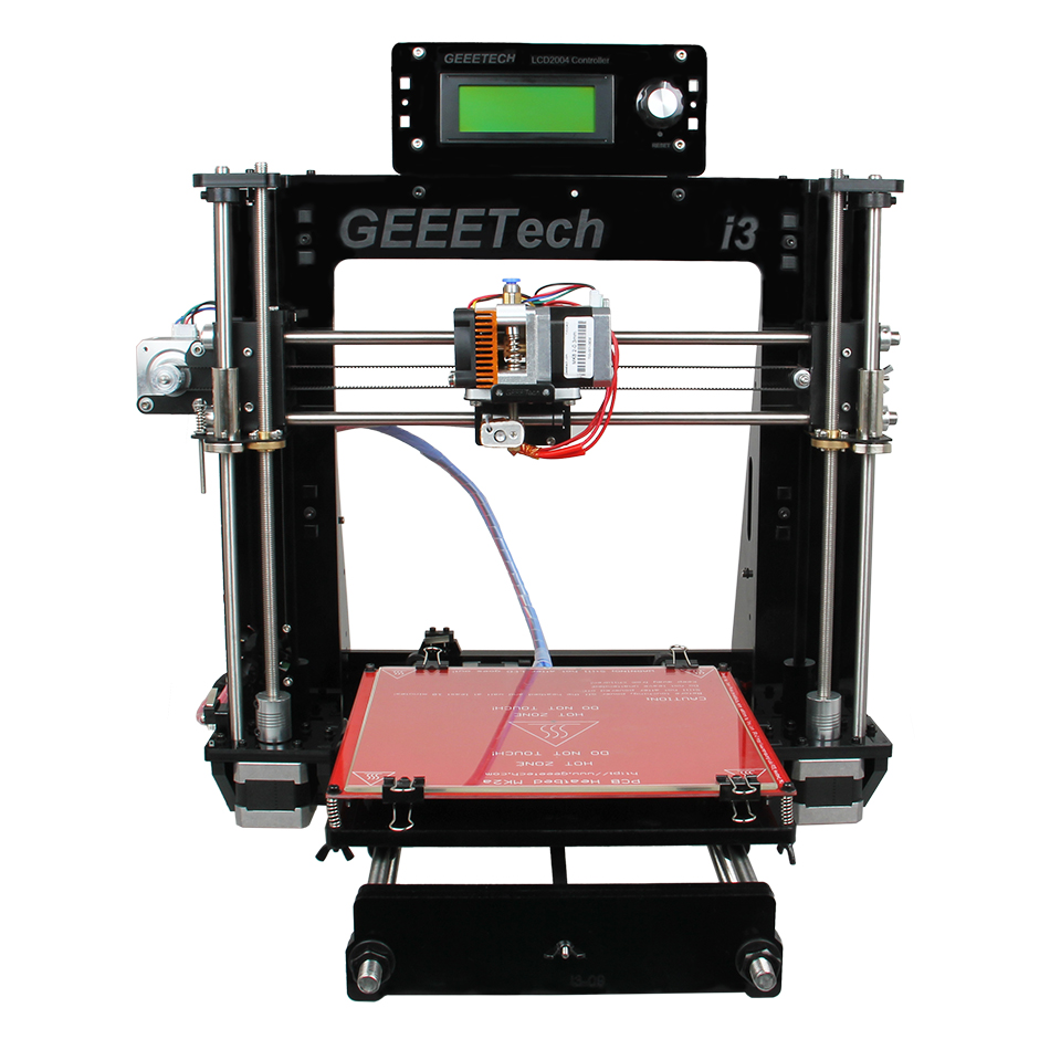 Geeetech I3 3D Printer Kits Open Source 8mm Acrylic Frame Desktop Reprap MK8 Extruder LCD2004 Free Black