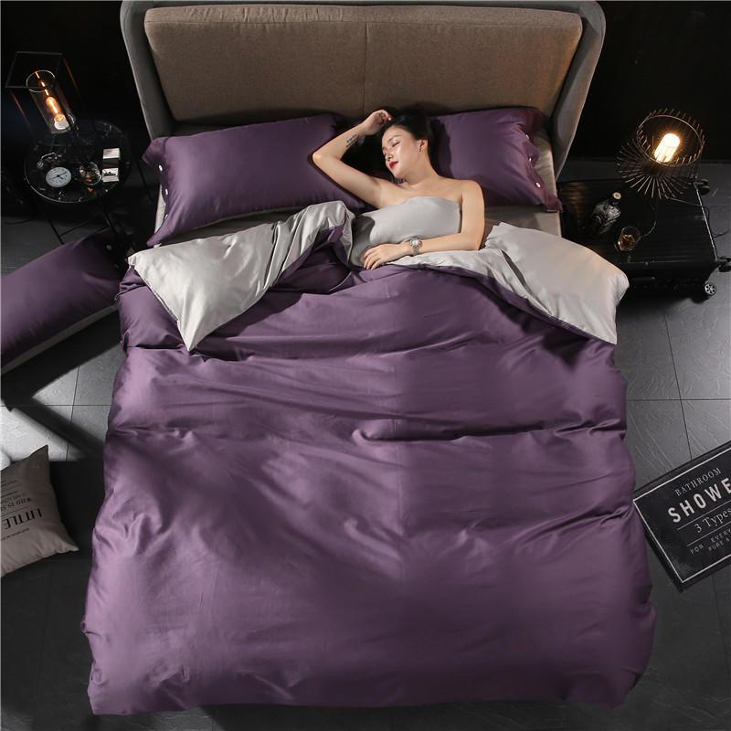 Egyptian Cotton Pink Grey Twin Size Bedding Set Queen King Size Bed Set Fitted Sheet Bed Sheet Set Duvet Cover Ropa De Cama