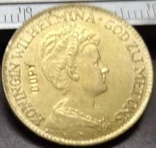 1913 Netherlands 10 Gulden - Wilhelmina exact copy 22K Gold plated coin