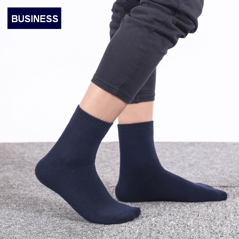 5Pairs/Lot Eur39-44 Men Winter Thicken Terry Business Cotton   Socks   Male High Quality Fashion Warm   Socks   s345