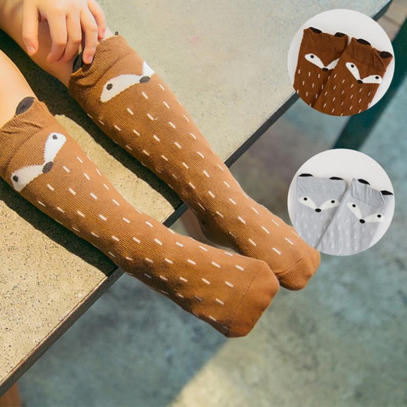 Autumn Winter Cute Kids Fox Socks Totoro Socks Bear Pancake Cartoon Girls Knee High Socks baby Long Socks New Hot Sale YYT357 nfl fan merchandise socks new england patriots team logo leopard print knee high socks brand new