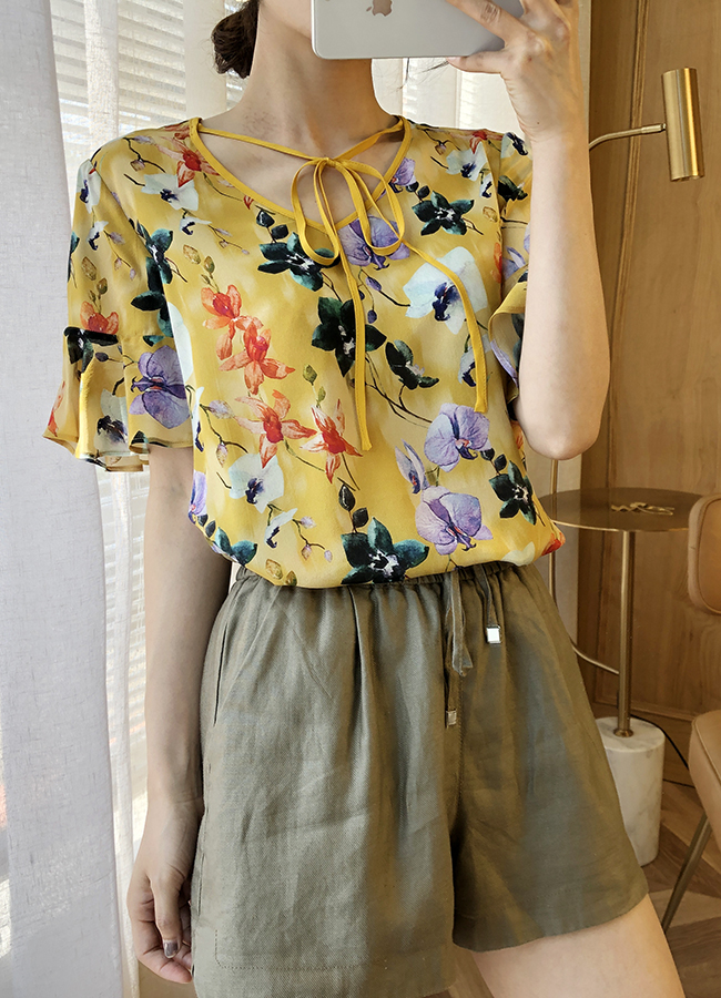Femmes d'été soie Blouse O cou à manches courtes tenue de bureau décontracté élégant naturel soie blouses imprimé floral réel soie chemise hauts