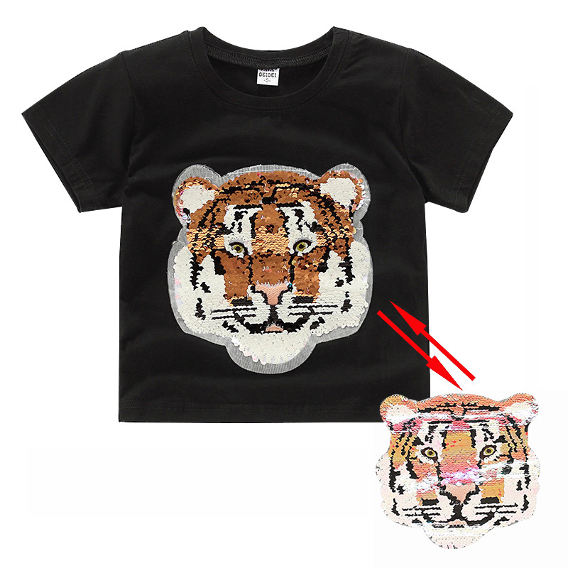 Summer fashion tiger switchable sequin baby girls tee shirt boys glitter T shirt kids clothes magic discoloration tops 2-8 yrs magic glitter cherry color change flip double sided t shirt with sequins girls kids sequin top mermaid reversible sequin clothes