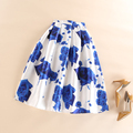 Pleated Tutu Skirts 50s Vintage Skirts Womens Romantic Fantasy Blue Rose Flower Print High Waist Midi Skirt Saia Feminina Faldas