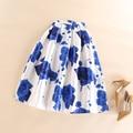 Plisado Tutú Faldas 50 s Vintage Faldas Mujeres de Fantasía Romántica Rosa Azul Estampado de Flores de Alta Cintura Falda de Midi Saia Feminina Faldas