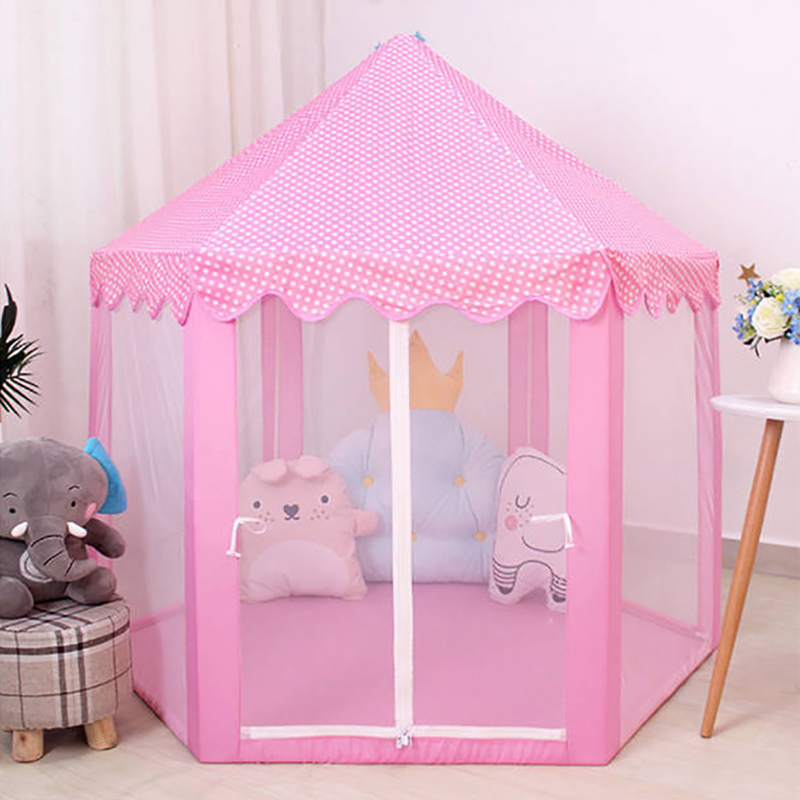 Baby Toy Tent Portable Folding Prince Princess Tent Children Castle Play House Kid Gift Outdoor Beach Zipper Tent Girls Gifts