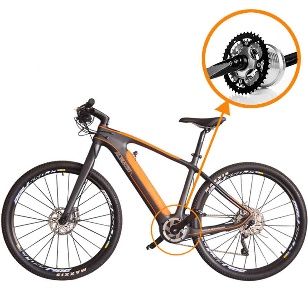 27.5inch carbon-fiber-electric-bike electric mountain bike -250w-brushless mid home motor carbon frame ebik 36Vli-ion pas bike image