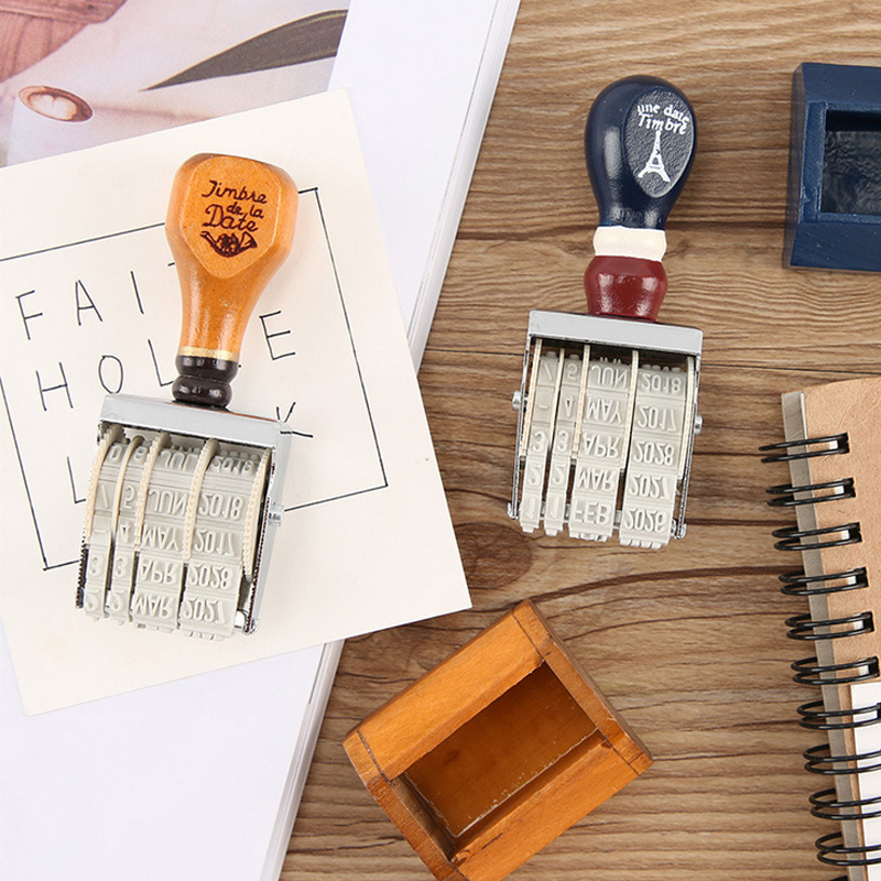 Wooden Handle Date DIY Stamp Diy Stamps For Scrapbooking Kawaii Stationery Zakka Decal Material Escolar School Supplies