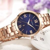 CURREN zegarki damskie Top marka Luxury Casual stal z różowego złota zegarek klasyczny Dial ultra cienki zegarek kwarcowy na rękę Relogio Feminino w Zegarki damskie od Zegarki na