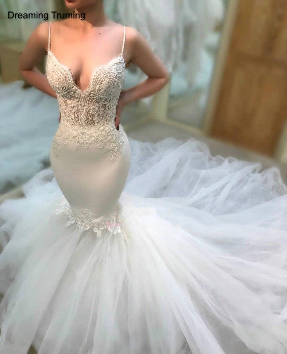 Sexy sirène sans manches robes de mariée dos nu Tulle Appliques dentelle Spaghetti-bretelles corps africain Nigeria robe de mariée