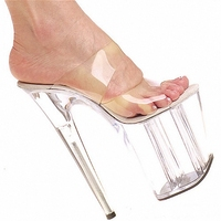Transparent Crystal Formal Dress Sexy Shoes 20cm Ultra High Heel Shoes 8 Inch Striped High Heeled