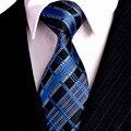 2 Color Chequeado Navy Azul Fucsia Rojo Negro Lazos Para Hombre corbatas 100% Seda Jacquard Tejidos Envío Libre Juego de Regalo Para hombres