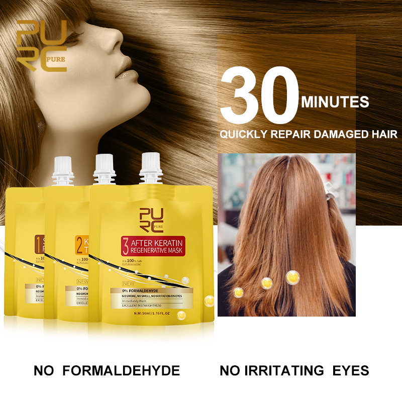 PURC New Keratin Hair Treatment No Fomalin No Irritation No Smoke Repair And Straighten Hair Keratin Treatment