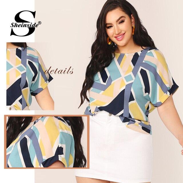 Sheinside Plus Size Geo Print Cuffed Sleeve Top Women 2019 Summer Boat Neck Elegant Blouses Ladies Casual Colorblock Top 5
