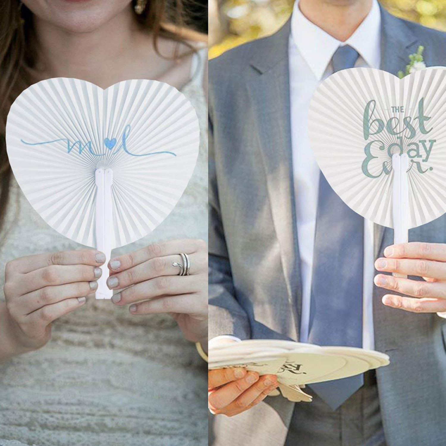 Low Price Set of 24 Handheld Fan Paper Folding Heart Shaped round ...