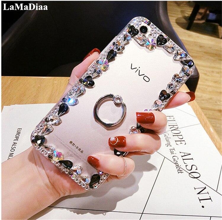 Galleria fotografica For Samsung Galaxy J5 J6 J7 J8 2018 A6 A8 A7 A5 A3 Glitter Crystal Rhinestone Bling Case With 360 Ring Case Luxury Diamond