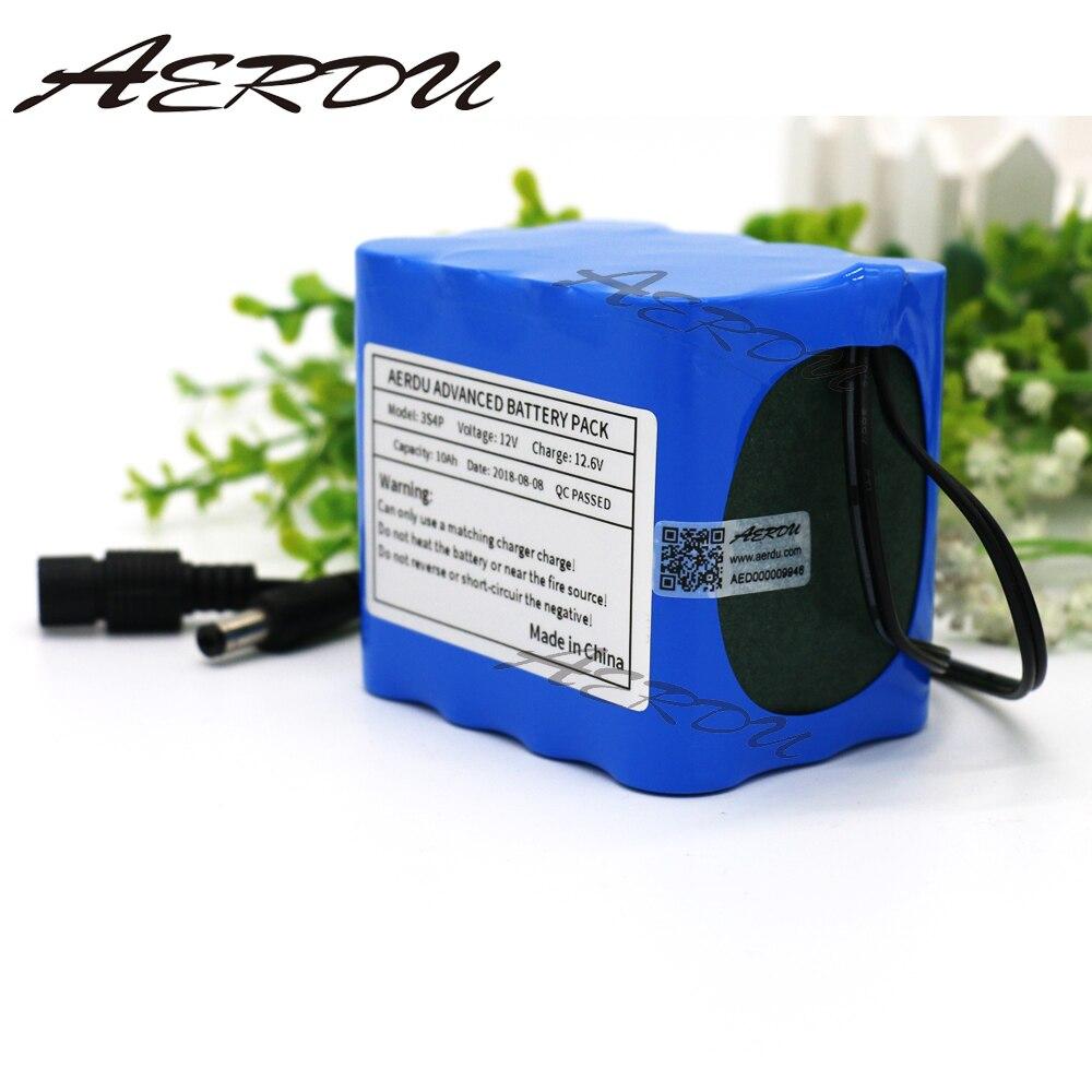 AERDU 3S4P 12 v 10Ah Grande capacité 11.1 v 12.6 v 18650 lithium Rechargeable batterie pour LED lampe lumière d'alimentation de secours avec BMS