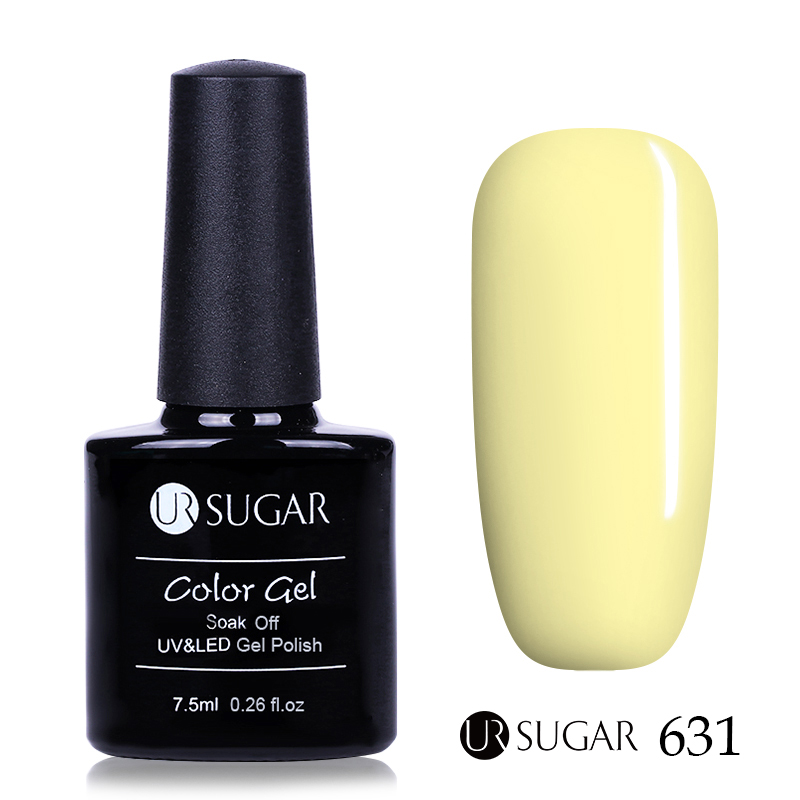 UR SUKKER 7,5 ml Soak Off UV Gel Polsk Gul Serie Pure Color Nail Art - Negle kunst - Foto 3