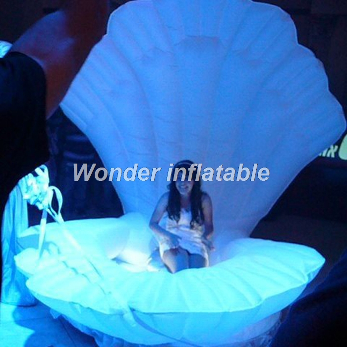 Hot sale customized stage white giant LED inflatable shell inflatable seashell for Party/ stage/ wedding decorationHot sale customized stage white giant LED inflatable shell inflatable seashell for Party/ stage/ wedding decoration