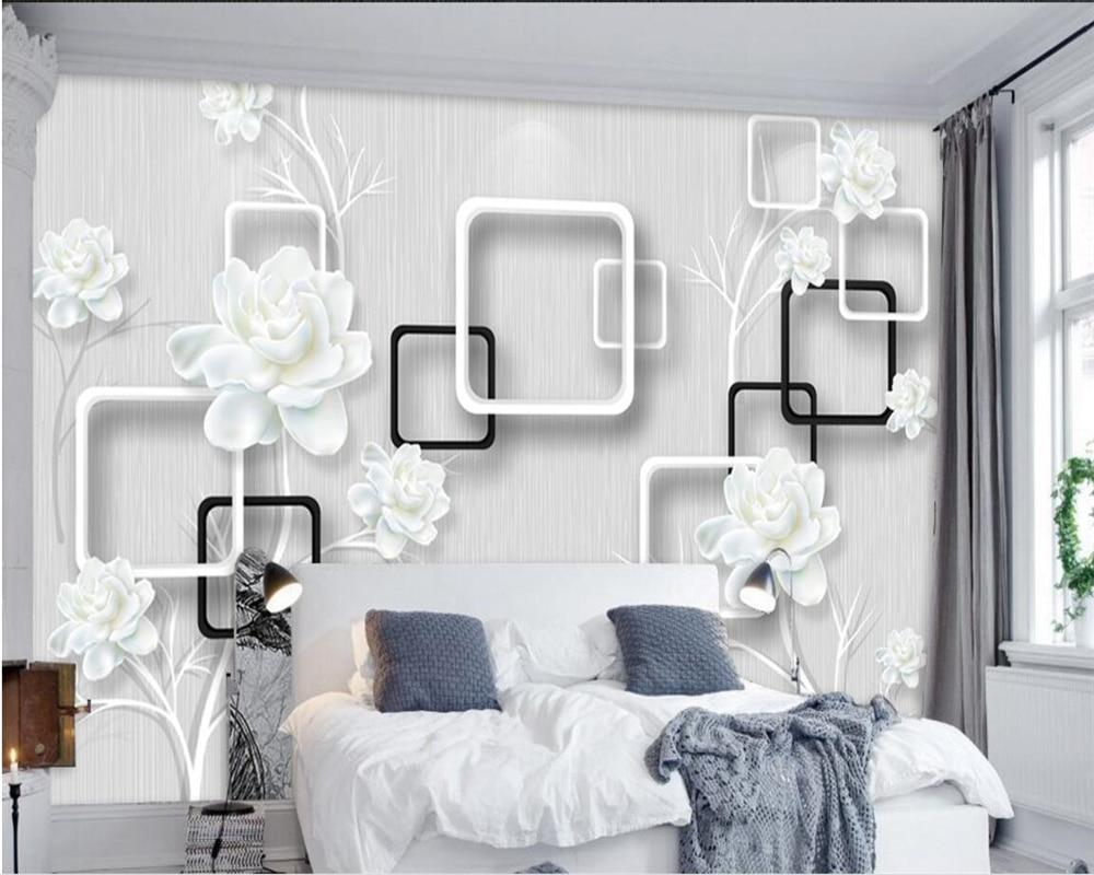 Beibehang Kustom Kertas Dinding Putih Elegan Ya Bunga 3D Foto Wallpaper Mural Kamar Tidur Ruang Tamu