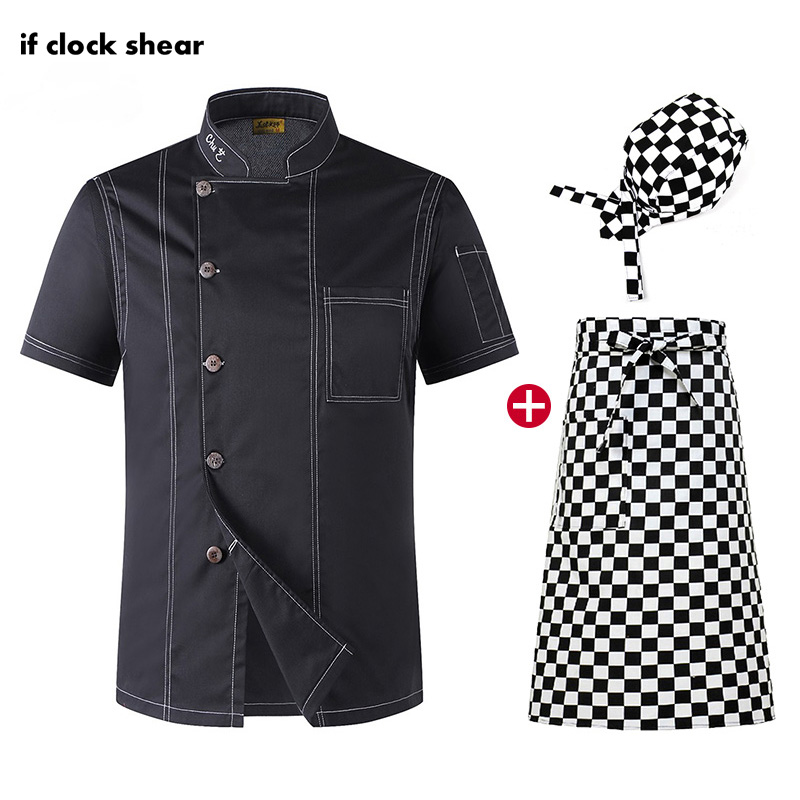 Food Service Work Clothes High Quality Restaurant Hotel Kitchen Chef Uniform Short Sleeve Chef Jacket Unisex Shirt Wholesale New