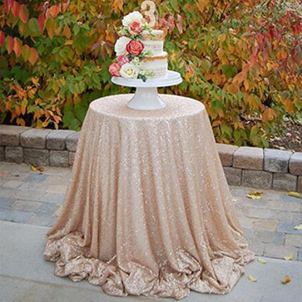 Champagne Sequin Tablecloth 72 Inches Round Sequin Table Cloth Wholesale  3mm Sequin Fabric Tablecloth Wedding In Tablecloths From Home U0026 Garden On  ...