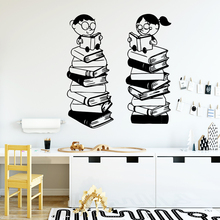 Creative reading books boy girl Wall Decal Art Vinyl Stickers For Kids Room Decoration Waterproof