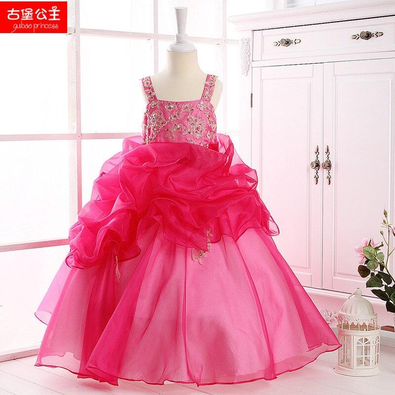 Castillo Little Princess Fuschia Organza de la colmena vestido largo ...