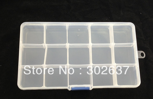 FREE SHIPPING 1PCS 15-Slots Clear Storage Box Bead Organizer Display Case #22565