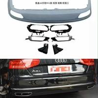 Car styling accessories W12 Style Rear Bumper Diffuser Spoiler Exhaust Tip for Audi A8 Non Sline Bumper 2011 2014