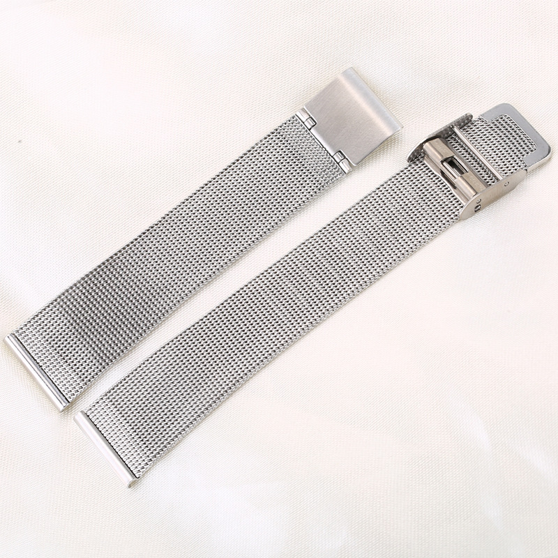 0 4mm Thick Watchband 14mm 20mm 22mm Silver Stainless Steel Strap Band Replacement Bracelet for Watches in Watchbands from Watches