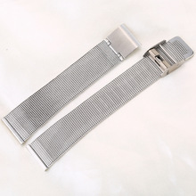 0.4mm Thick Watchband 14mm 20mm 22mm  Silver Stainless Steel Strap Band Replacement Bracelet for Watches