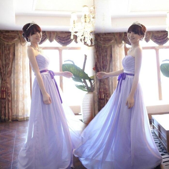 Bridesmaid dresses long dress 2016 spring purple strap show thin sister skirt bridesmaids dress evening dress