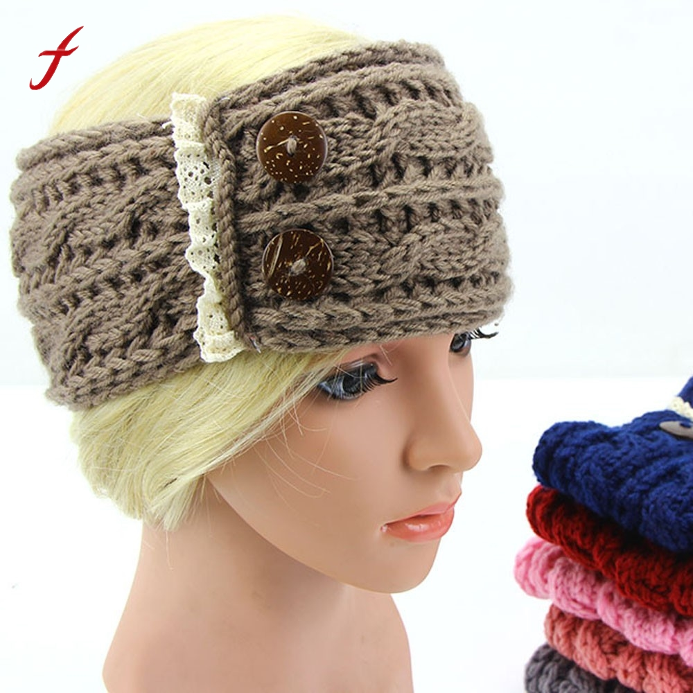 2017 Hot Knitted Turban Headbands For Women Crochet Headband Botton ...