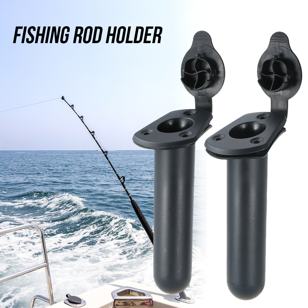 2 X WHITE LARGE OVAL BOAT FISHING ROD HOLDERS WITH WATERPROOF SEALING COVER CAPS